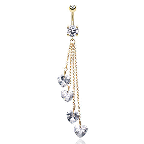 Hearts Infinite Journey Belly Ring in Gold - Dangling Belly Ring. Navel Rings Australia.