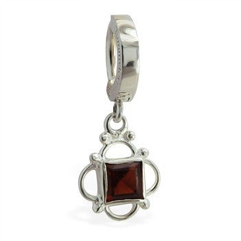 TummyToys® 925 Silver Garnet Sleeper - TummyToys® Patented Clasp. Navel Rings Australia.