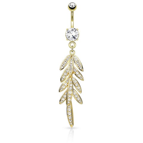 Dangling Belly Ring. Quality Belly Bars. Autumn Falls Petiole Navel Bar in Gold
