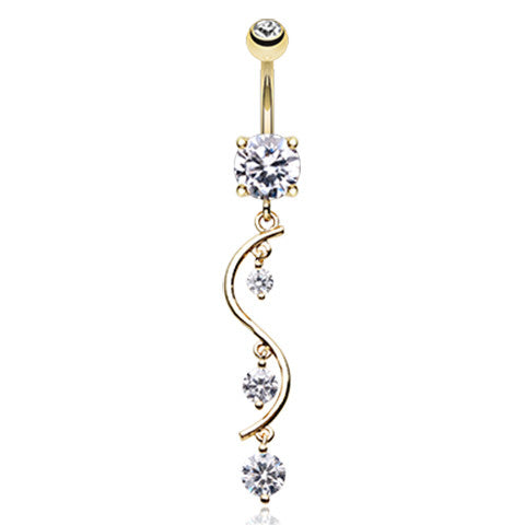 Golden Chandelier Belly Button Ring - Dangling Belly Ring. Navel Rings Australia.