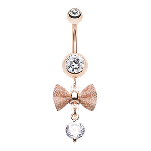 Mesh Bow Dangly Belly Ring in Rose Gold - Dangling Belly Ring. Navel Rings Australia.
