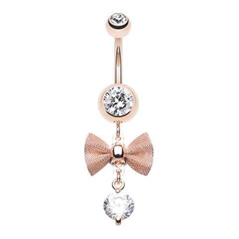 Dangling Belly Ring. Belly Rings Australia. Mesh Bow Dangly Belly Ring in Rose Gold