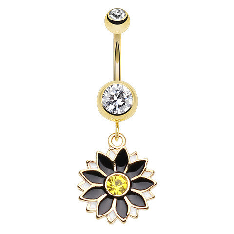 Dangling Belly Ring. Belly Rings Australia. Golden Midnight Daisy Belly Piercing