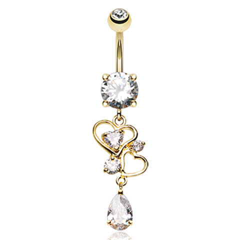Le Love Lure Gold Navel Piercing Bar - Dangling Belly Ring. Navel Rings Australia.