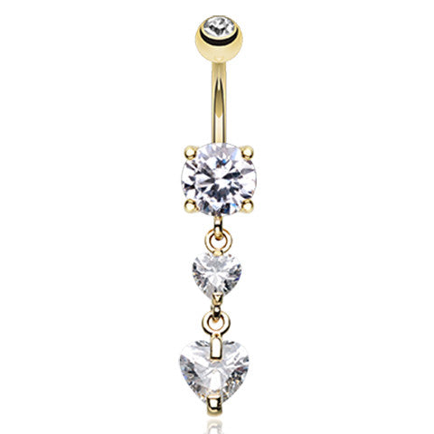 Dixi Crystal Heart Belly Ring in Gold - Dangling Belly Ring. Navel Rings Australia.