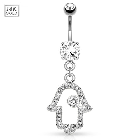 Dangling Belly Ring. Shop Belly Rings. 14K White Gold Hamsa Hand Navel Bar