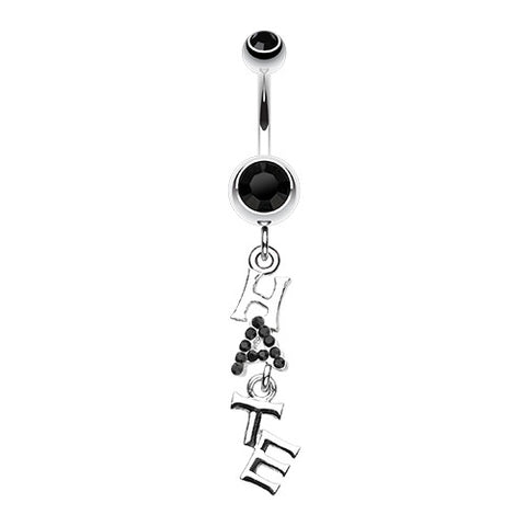 Dangling Belly Ring. Quality Belly Bars. Jeweled Hate Navel Bar
