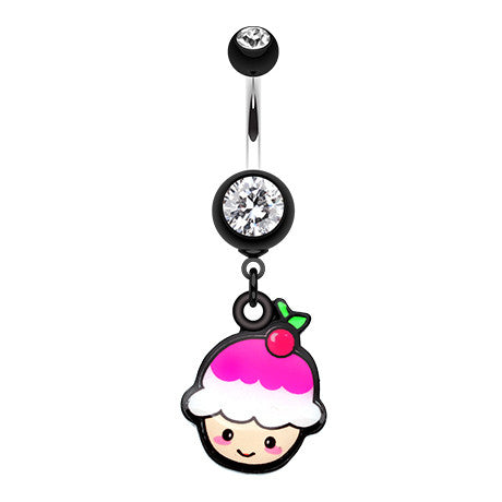 Dangling Belly Ring. High End Belly Rings. Kawaii Cherry Cupcake Belly Bar