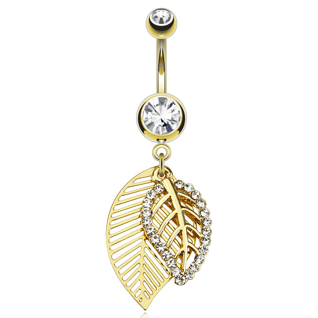 Feuille Leaf Belly Bar in Gold - Dangling Belly Ring. Navel Rings Australia.