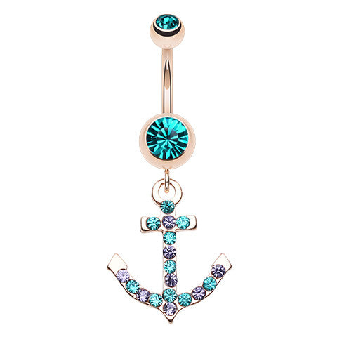 Micro Paved Anchor 14K Gold Belly Button Ring