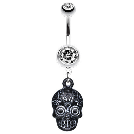 Ancient Mayan Skull Navel Bar - Dangling Belly Ring. Navel Rings Australia.