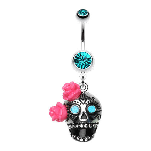 Floral Sugar Skull Dangly Belly Piercing - Dangling Belly Ring. Navel Rings Australia.