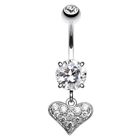 Dangling Belly Ring. Quality Belly Bars. Mini Heart Dangly Navel Bar