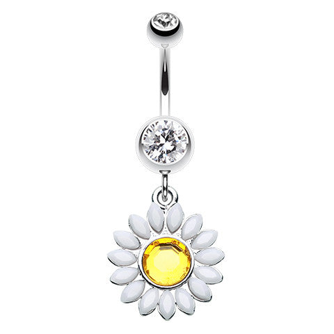 Dangling Belly Ring. Belly Bars Australia. Moonflower Dangly Navel Ring