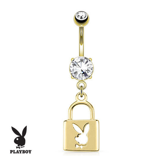 Official Playboy Bunny Lock Navel Piercing Bar - Dangling Belly Ring. Navel Rings Australia.