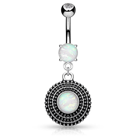 Dangling Belly Ring. Belly Bars Australia. Tribal Nation Opal Belly Button Bar