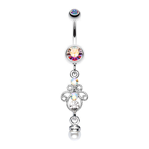 Ornate Pearl Tip Belly Piercing Ring - Dangling Belly Ring. Navel Rings Australia.