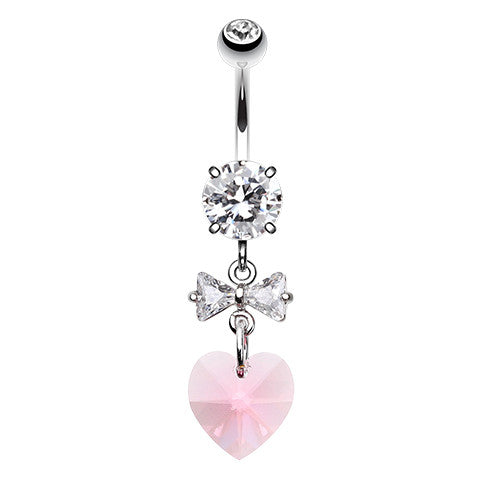 Dangling Belly Ring. Belly Rings Australia. Prism Heart Bow Belly Button Ring
