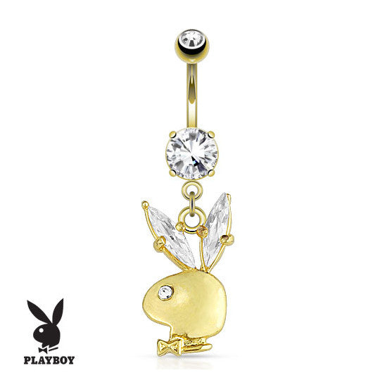 Official Playboy Gold Crystal Belly Button Ring - Dangling Belly Ring. Navel Rings Australia.
