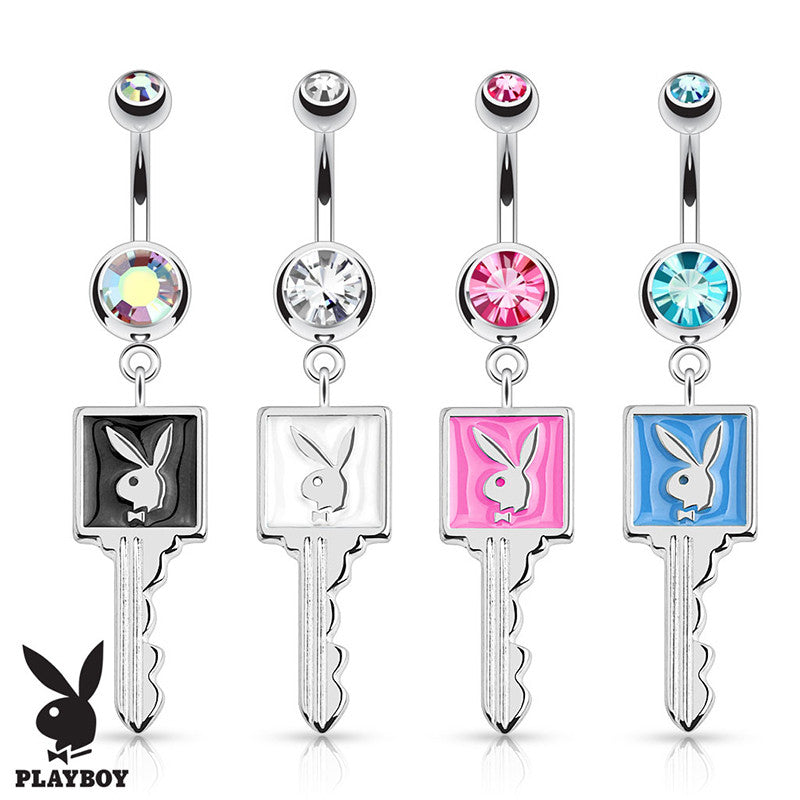 Official Playboy Bunny Key Belly Button Ring - Dangling Belly Ring. Navel Rings Australia.
