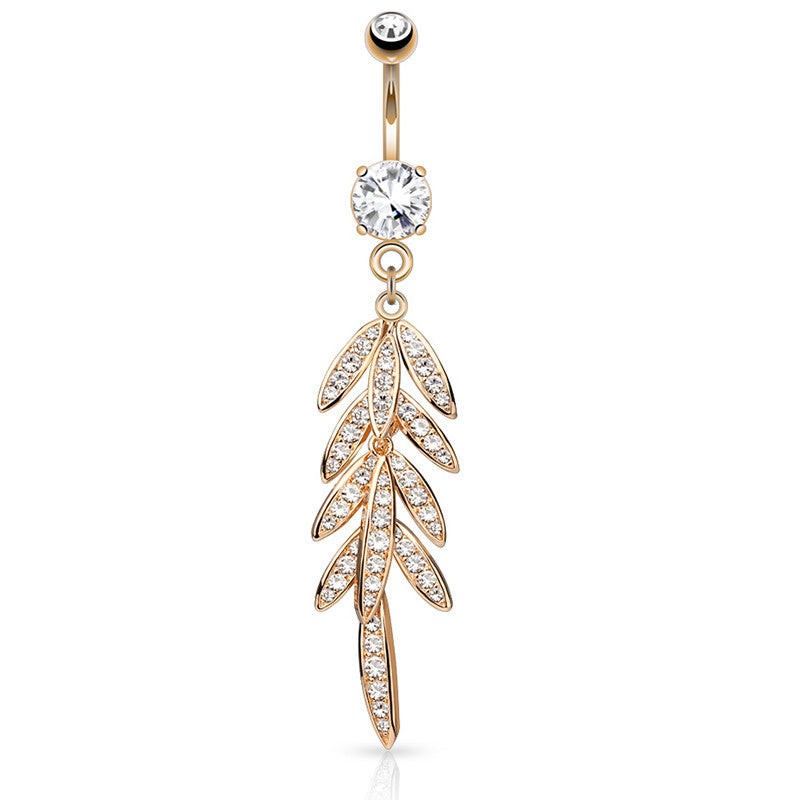 Autumn Falls Petiole Navel Bar in Rose Gold - Dangling Belly Ring. Navel Rings Australia.