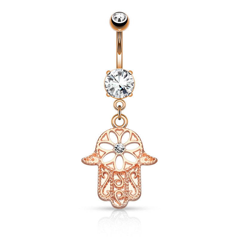 Rose Gold Hamsa Amulet Belly Button Bar - Dangling Belly Ring. Navel Rings Australia.