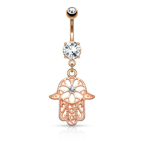 Dangling Belly Ring. Quality Belly Rings. Rose Gold Hamsa Amulet Belly Button Bar