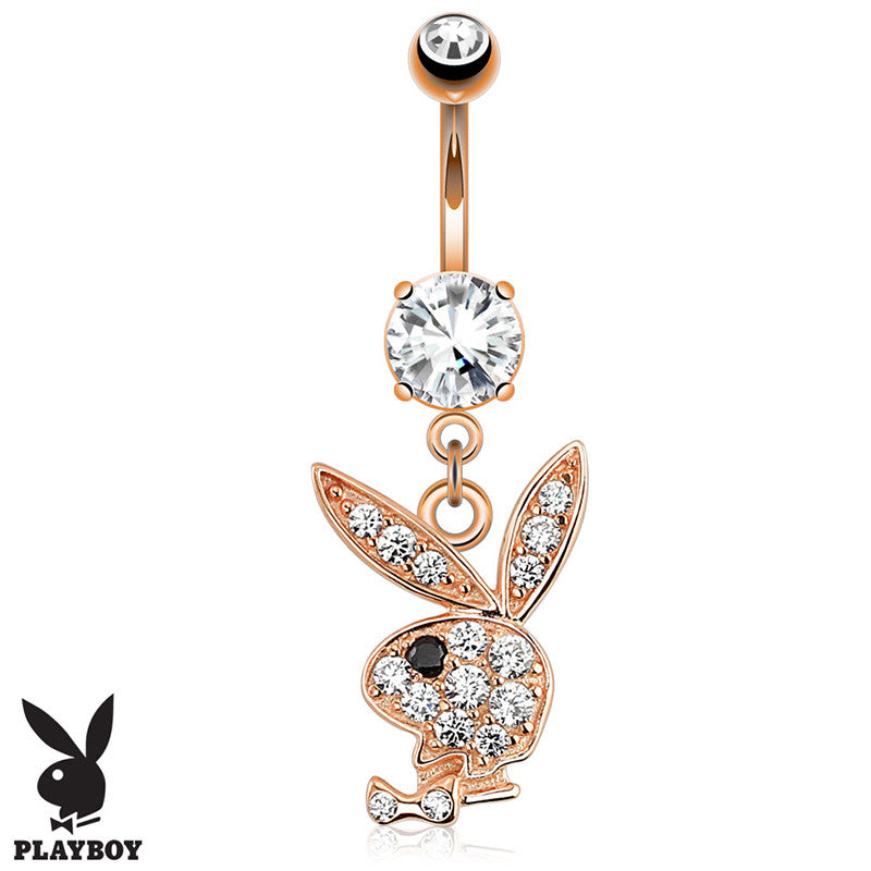 Official Playboy Rose Gold Navel Piercing Bars - Dangling Belly Ring. Navel Rings Australia.