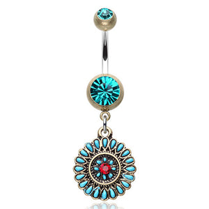 Turquoise Ruby Sahasrara Belly Button Bar - Dangling Belly Ring. Navel Rings Australia.