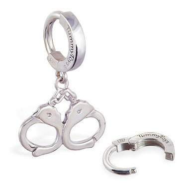 TummyToys® Patented Clasp. Quality Belly Rings. TummyToys® Silver Handcuff Huggy