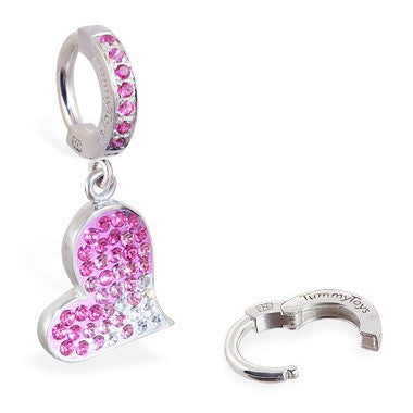 TummyToys® Patented Clasp. High End Belly Rings. TummyToys® Paved Swarovski Heart