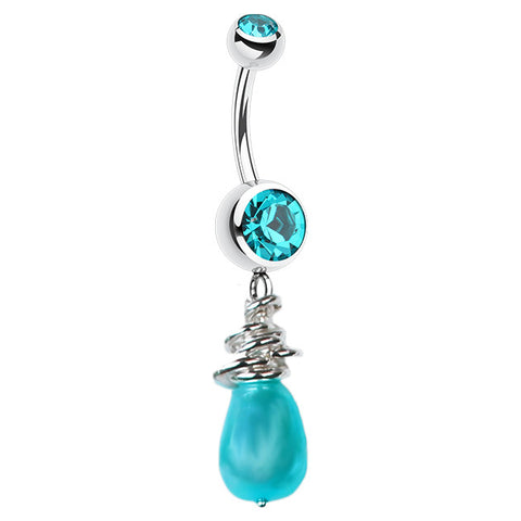 Dangling Belly Ring. Shop Belly Rings. Saltwater Silver Marine Pearl Navel Ring