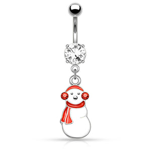 Ear Muff Snowman Belly Bar - Dangling Belly Ring. Navel Rings Australia.