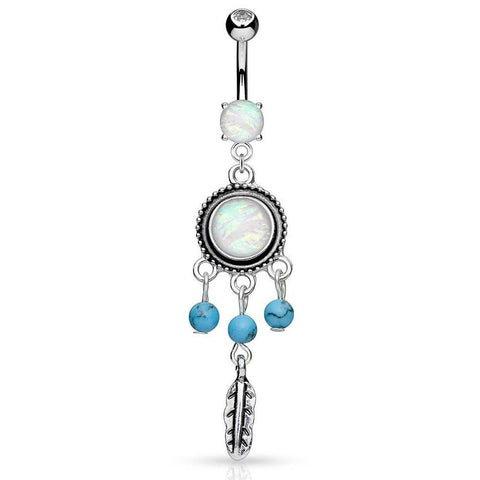 Dangling Belly Ring. Belly Rings Australia. Susvapna Opal Dreams Belly Piercing