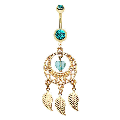 Viridian Dreams Belly Ring - Dangling Belly Ring. Navel Rings Australia.