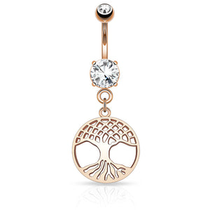 Rose Gold Tree of Life Belly Piercings - Dangling Belly Ring. Navel Rings Australia.