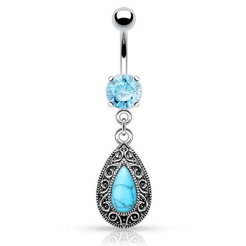 Dangling Belly Ring. Belly Bars Australia. Ornate Turquoise Teardrop Belly Button Bars