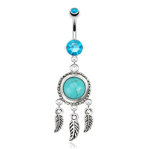 Turquoise Dream Catcher Belly Button Ring - Dangling Belly Ring. Navel Rings Australia.