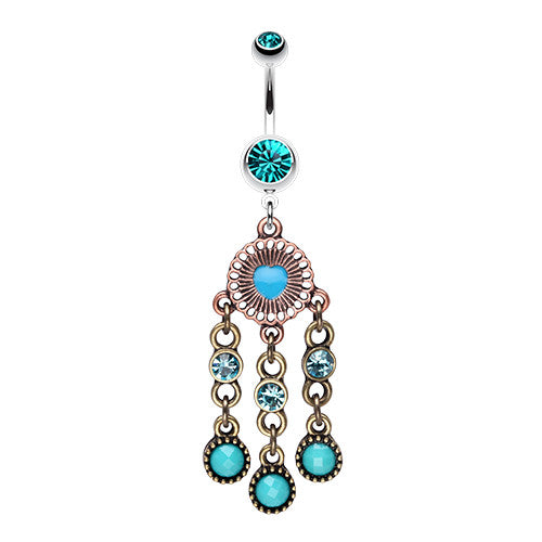 Boho Turquoise Dream Catcher Belly Ring - Dangling Belly Ring. Navel Rings Australia.