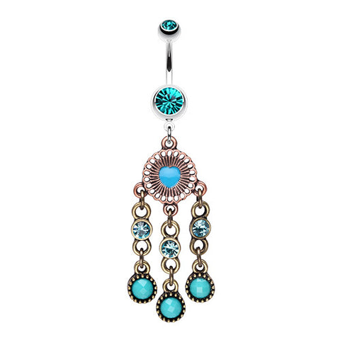 Dangling Belly Ring. High End Belly Rings. Boho Turquoise Chandelier Navel Piercing Bar