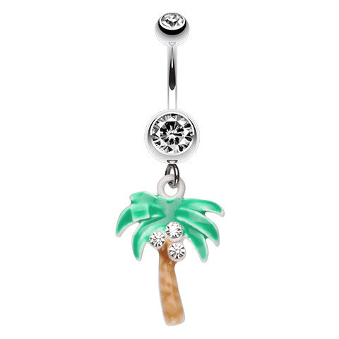 My Waikiki Palm Tree Dangle - Dangling Belly Ring. Navel Rings Australia.