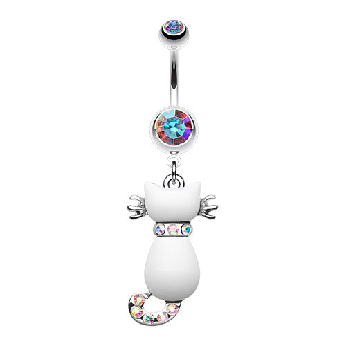 Audacious White Kitty Belly Ring - Dangling Belly Ring. Navel Rings Australia.
