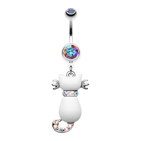 Dangling Belly Ring. Quality Belly Bars. Audacious White Kitty Belly Button Ring