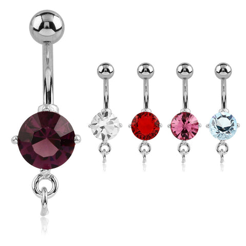 Charm Slave Belly Ring. Belly Bars Australia. Prong Set Gem Charm Slave Belly Rings