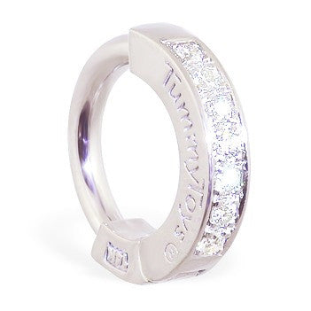 TummyToys® White Gold Diamond Pave Sleeper - TummyToys® Patented Clasp. Navel Rings Australia.