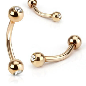Double Gem Gold Plated Belly Piercing - Basic Curved Barbell. Navel Rings Australia.