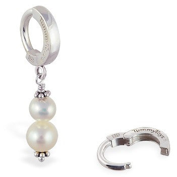 TummyToys® Freshwater Pearl Navel Piercing Bar - TummyToys® Patented Clasp. Navel Rings Australia.