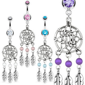 Gem Dream Catcher Belly Piercing Ring - Dangling Belly Ring. Navel Rings Australia.