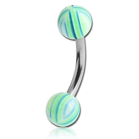Basic Curved Barbell. Quality Belly Bars. Ocean Stripe Belly Button Bars