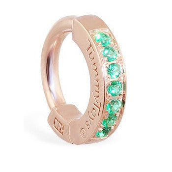 TummyToys® Patented Clasp. High End Belly Rings. TummyToys® Rose Gold Emerald Pave Sleeper